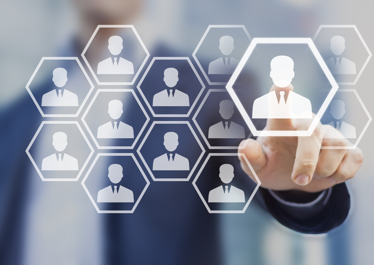 Human resource manager choosing to hire, virtual screen, recruitment